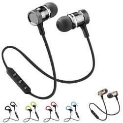 Bluetooth In-ear Hörlurar med Mikrofon - Trådlösa - Magnetiska Svart (magnetiska)