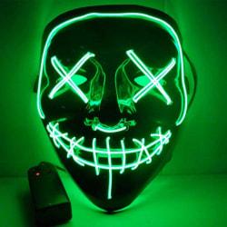 El Wire Purge LED Mask (Grön) - Halloween & Maskerad Grön