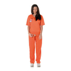 Fånge Dräkt - Orange Tjejfånge Maskeraddräkt - Large