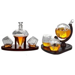Glob Karaff Set med Whiskey Glas - 850 ml 1. Jordglob (utan stativ för glasen)