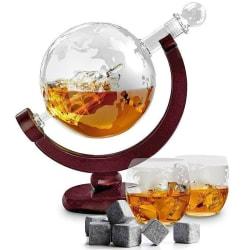 Glob Karaff Set med Whiskey Glas + Whiskey Stenar - 850 ml