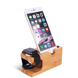 Hållare för Mobil & Apple Watch & Samsung Watch  - Stativ  - Trä