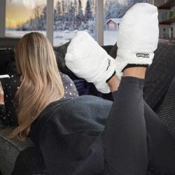 Hot Feet Värmetofflor - Tofflor - Värmer upp Fötter - Vit Vit