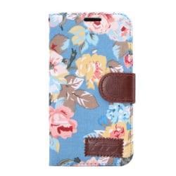 HTC One M9 Plånboksfodral Blommor Blå blue