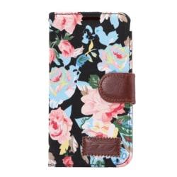 HTC One M9 Plånboksfodral Blommor Svart Svart