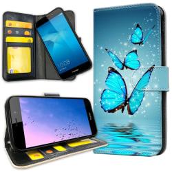 Huawei Y6 (2017) - Plånboksfodral Glittrande Fjärilar