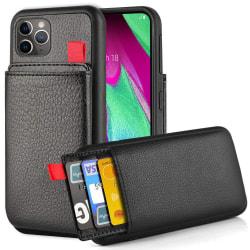 iPhone/Samsung/Huawei - Skal med Dolt Kortfack / Korthållare Black iPhone 11