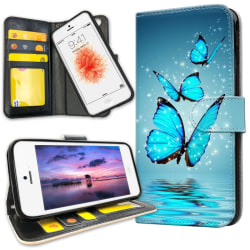 iPhone 5/5S/SE - Plånboksfodral Glittrande Fjärilar