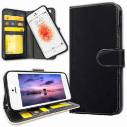 iPhone 5/5S/SE - Plånboksfodral Svart Svart