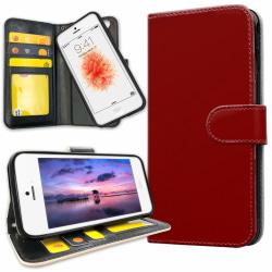 iPhone 5C - Plånboksfodral Mörkröd red