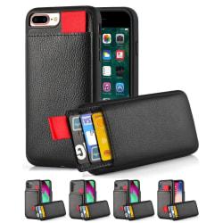 iPhone/Samsung/Huawei - Skal med Dolt Kortfack / Korthållare Black iPhone SE (2020)