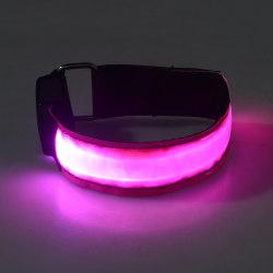 2-Pack - Armband LED / Reflex som Lyser - Reflexband - Rosa Rosa