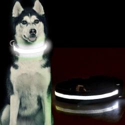 LED Hundhalsband / Halsband för Hund med Reflex - Svart (M) Svart