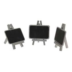 3-Pack - Mini Blackboard Tavla på Ställ - Silver
