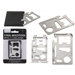 Multiverktyg Metallkort - Rymmer i Plånbok - 11 funktioner