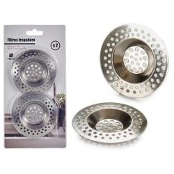 2-Pack - Ø7,5 cm - Filter / Hårfälla för Avlopp & Diskho Silver