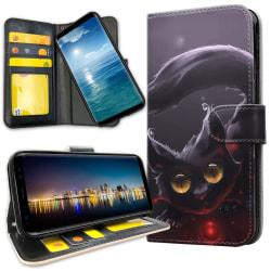 Samsung Galaxy A40 - Plånboksfodral Svart Katt