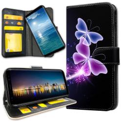 Samsung Galaxy A8 (2018) - Plånboksfodral Lila Fjärilar purple