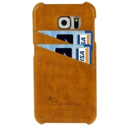 Samsung Galaxy S6 Edge Läder Korthållare Ljusbrun Brun