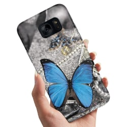 Samsung Galaxy S6 Edge - Skal / Mobilskal Blå Fjäril blue