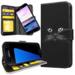 Samsung Galaxy S7 Edge - Plånboksfodral Svart Katt Svart