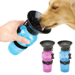 Vattenflaska för Hund / Hundflaska med Skål / Tratt - Portabel Rosa