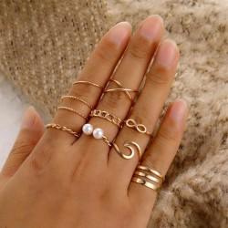10-pack Boho Guld Ringar - Släta, Mönster, Infinity & Vit Pärla Guld