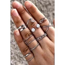 10-pack Boho Silver Ringar -Släta, Mönster, Infinity & Vit Pärla Silver