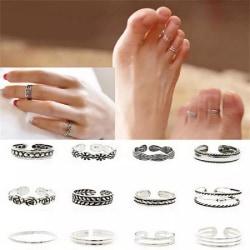 12-pack Boho Antik Silver Ringar / Tåringar - Justerbara Silver