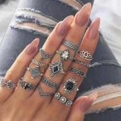 15-pack Boho Antik Silver Ringar -Svarta Pärlor & Vit Rhinestone Silver