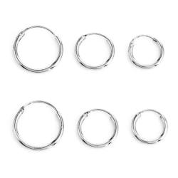 3 par Små Silver Örhängen - Hoop / Creoler i Olika Storlekar  Silver