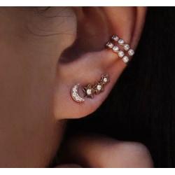 4 st Guld Örhängen - Ear Cuff med Strass, Måne & Stjärna Guld