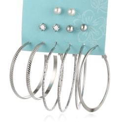 6 par Silver Örhängen - Hoop/Creoler & Stud - Pärla & Rhinestone Silver