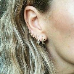 7 st Guld Örhängen - Blanka Släta Ear Cuffs, Måne & Stjärna Guld