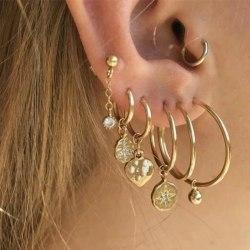 7 st Guld Örhängen - Ear Cuff & Hoop med Hängen & Rhinestones  Guld