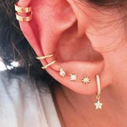 7 st Guld Örhängen - Ear Cuff, Rhinestones & Hoop med Strass Guld