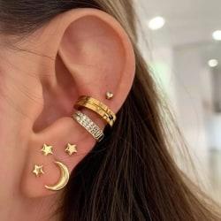 7 st Guld Örhängen - Ear Cuff, Rhinestones, Måne & Stjärna Guld