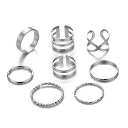 8-pack Silver Ringar - Blanka, Släta & Olika Mönster Silver