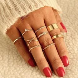 9-pack Guld Ringar - Vita Rhinestones, Släta & Mönstrade Guld