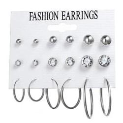 9 par Silver Örhängen - Blanka Kulor, Vita CZ Kristaller & Hoop Silver