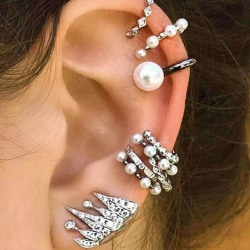 9 st Silver Örhängen - Ear Cuff & Stud med Pärlor & Rhinestones  Silver