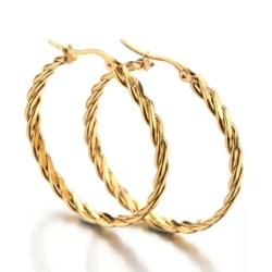 Blanka Ovala Hoop Guld Örhängen - Twist & Tvinnade Guld