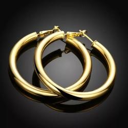 Blanka Stora Hoop Guld Örhängen - Klassiska & Stilrena  Guld