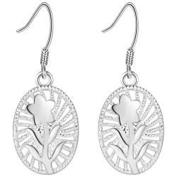 Bohemiska Silver Örhängen - Ovala Hängen med en Söt Blomma Silver
