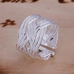 Bred Silver Ring / Silverring med Flätad Design - Justerbar Silver one size
