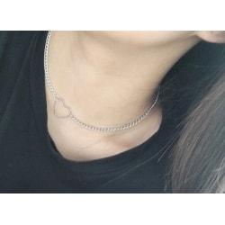 Choker Silver Halsband - Kedja med Enkelt Hjärta Silver