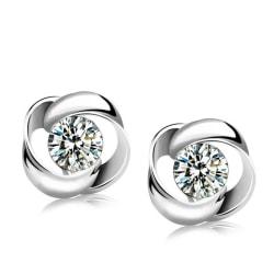 Eleganta Silver Örhängen - Stud med Glittrande Vit CZ Kristall Silver