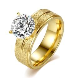 Frostad Guld Ring med Vit CZ Kristall - Guldpläterad - Stl 17,3 Guld