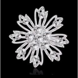 Glittrande Rund Silver Brosch - Blomma & Vita Rhinestones  Silver