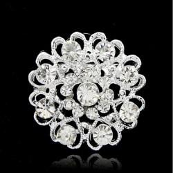 Glittrande Rund Silver Brosch - Hjärtan & Vita Rhinestones    Silver